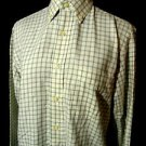 STAFFORD High Ridge Twill Dress Shirt mens S Sage Green Cream Button collar L/S