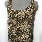 Nwt WET SEAL Leopard Chiffon top women S Brown Black animal racerback tank shirt