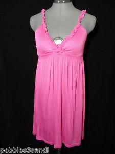 RUFFLED V neck Rayon Sexy Sun Dress womens XS Candy Pinkempire waist Beach Boho
