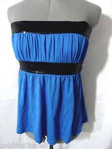 WET SEAL Sequin Empire top Juniors S Royal blue Black tie back Strapless Summer