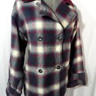 CRAZY HORSE Wool Plaid Peacoat Jacket womens SM Blue Wine double breasted Spring