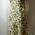 JUST CHOON Rockabilly Dress women 3 (S) Cream Black Floral A-line Retro 50s-60's