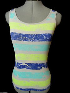 KIRRA PAC SUN Tank top womens S Hawaiian Floral Gray Blue Green stripe Ribbed