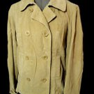 ST. JOHN'S BAY Peacoat Jacket women M Beige Corduroy double breasted Blazer coat