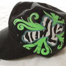 WESTERN Bling Cabbie Newsboy Hat KC CAPS womens Black Cross Rhinestone Fleur hot