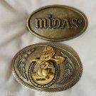 2 Metal Belt Buckles VINTAGE MIDAS & Utilities Underground Montana silvertone
