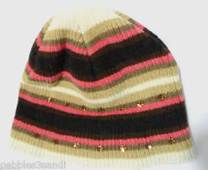 CHENILLE Sequin Winter Beenie Hat girls 6+ years Brown Pink Ivory Ski Snowboard