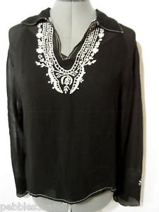 MAGAZINE Embroidered Indie Boho Top womens L Black sheer V neck collared +Cami M