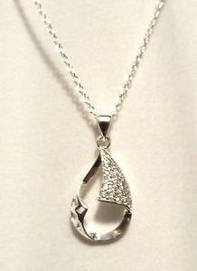 "New OPEN TEARDROP Silver Plated 18"" Necklace & Pendant Set Rhinestone encrusted"