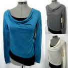 Nwt DEREK Cowl 2-fer Tee shirt Tops women SML Gray Teal Ivory Draped blouse cami