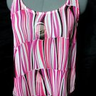 Nwt LOVE STORY Summer boho top junior S Pink White Fancy Scoop neck strappy Tank