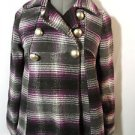 ME JANE Kids Wool Blend PEACOAT Jacket girls L Purple Gray Plaid Double breasted
