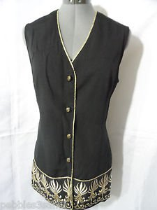 JOHN ROBERTS Metallic fleur Embroidered Vest womens 13/14 Black Gold +tie V neck