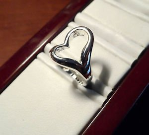 HEART INFINITY Ring women 6.5,7 Silver Plated hollow design band Love Friendship