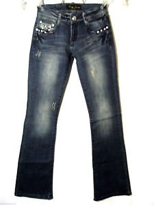 Nwt WAY Zippered Gems Western Jeans juniors 1 Dark wash Bootcut Distressed HOT!