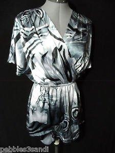 Nwt XT Silky Babydoll Kimono Top womens S Gray v neck Artsy smocked waist SS