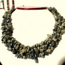 "New HOWLITE Green Chip 4 Stranded String Necklace 17"" Marbled Stone Rock Jewlery"