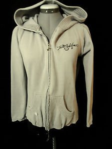 TRUTH SOUL Hoodie Sweatshirt womens M Gray zip up Graphic Designer Punk Imo Rave