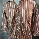 IB DIFFUSION Button up Top women PS neutral Red Brown pinstripe Collared blouse