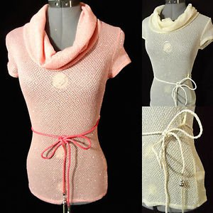 Nwt DULCE CAROLA Cowl Crochet Sweater Top womens SML Pink Ivory Shimmer Belted