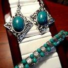 Faux TURQUOISE Earring Beaded Bracelet Set Turquoise Silver Tone Boho Shamballa