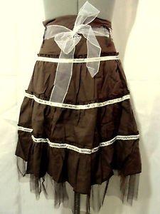 Nwt MOINE Sequin Trim Skirt junior M Brown Tulle Bow A-line party recital Fancy