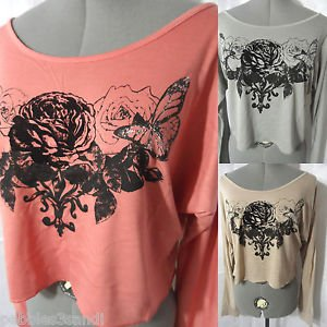 Nwt COOLWEAR Tribal Roses Tee shirt women SML Gray Pink Brown Wide scoop western
