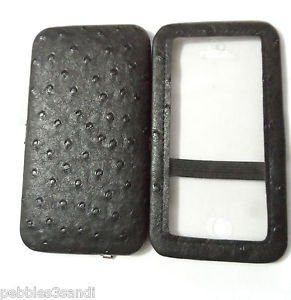 "IPOD TOUCH 5 Case Clutch Black Ostrich Faux Leather WET SEAL 5.5""x3"" MP3 player"