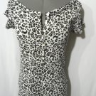 Nwt SA'SA Leopard T-Shirt Top womens SM Black Gray White 1/2 Button animal print
