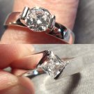 New AUSTRIAN CRYSTAL Engagement Ring sz 7 Round 925 Silver 8 Princess HIS & HERS