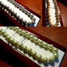 """New Imitation PEARL Strand Necklaces GLASS 17"""" Gray Toffee Green Formal Evening"""
