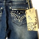 Nwt WAY Zippered Gems Western Jeans 1 Dark wash Bootcut Distressed HOT! urban