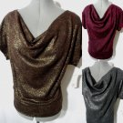 Nwt NYC Metallic Cowl Top women PXSSML Gray Brown Pink Leopard Career Sweater SS