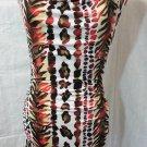 Nwt C.GRAFFITI Leopard Dress women M Red Brown White Drape neck Zebra Cheetah