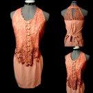 Nwt MICHELE Crochet lace Skirt set women XS/S Pink Western vintage boho look Hot