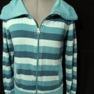PIMKIE WIde Collar Sweatshirt women S/M Blue stripe Full Zip Up Athletic Sporty