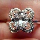 New AUSTRIAN Rock CRYSTAL Ring 8 925sp Silver Oval Stone Brilliant Bow gems