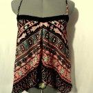 RUE21 Flounce Boho Tank top womens XS Black Pink V neck Cross back Crochet Indie
