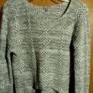 CHARLOTTE RUSSE Crochet Sweater Top XS Gray Beige White Argyle crop Long Sleeve