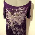 JULIE'S CLOSET Butterfly T-shirt Top S Plum Purple scoop neck Ring Open Shoulder