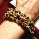 "HOWLITE Stone Bracelet 8"" brown Green polished Strand jewelry Unisex Surf Hippie"