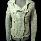 AMERICAN EAGLE Wool Knit Sweater Coat M Blue Ivory ALPACA WOOL MOHAIR ZipUp Boho