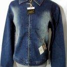 Nwt CLASH Jeans Jacket womens M Dark wash Denim zip up coat Distressed Dark wash