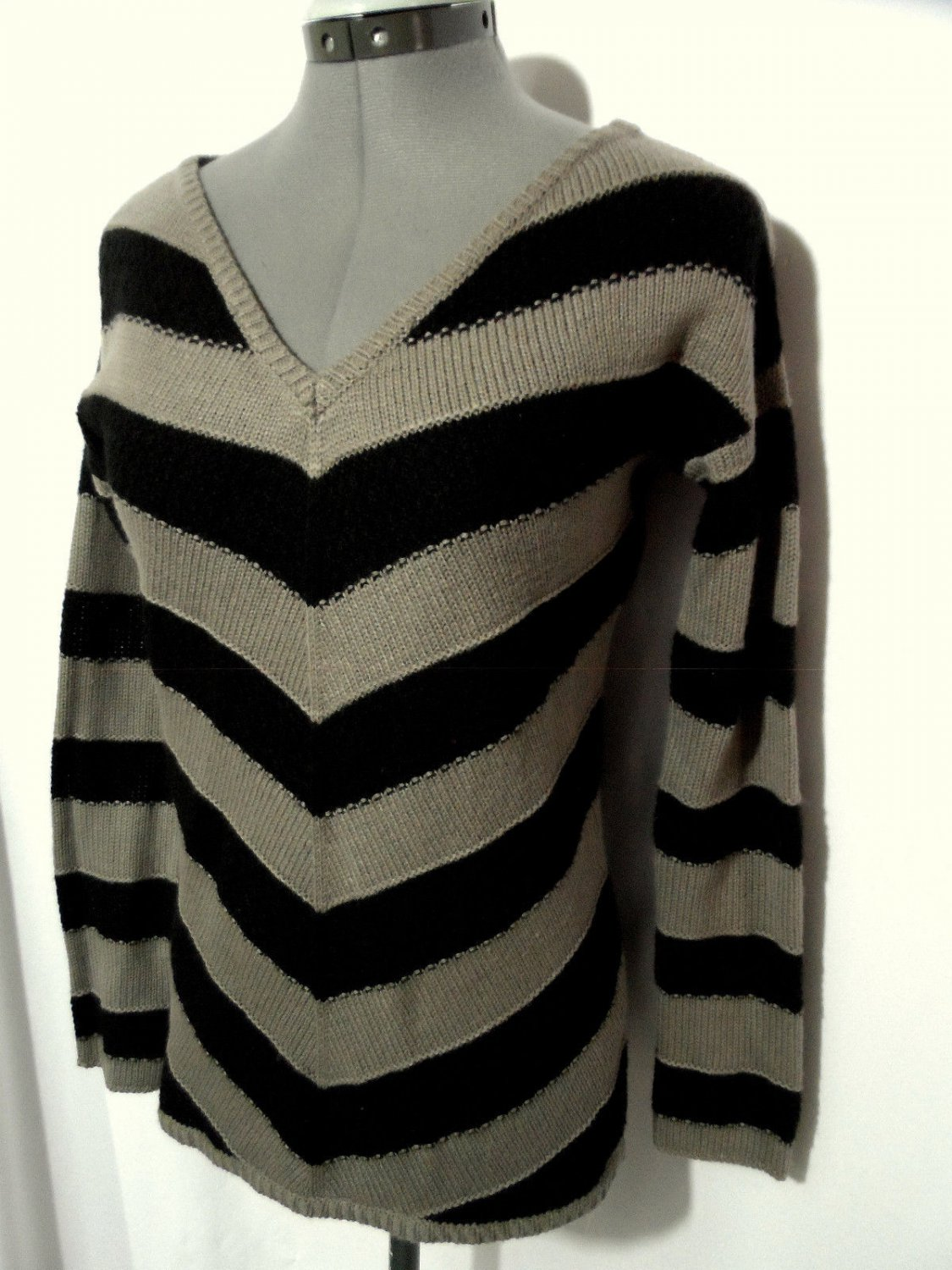 Maurices Sweater Top S Black Gray Tan Knit Stripe Blouse