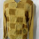 DESIGNER ORIGINALS Suede Leather Sweater Coat Jacket Sm Tan Beige Zip up Crochet