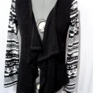 BOHO Indie Cardigan Sweater M Black White decorated sleeves Point hem Fashion