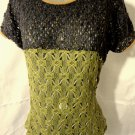 Nwt PRINCESS Crochet Pointelle sweater Top womens S Blue Green sheer scoop Gyspy