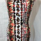 Nwt C.GRAFFITI Leopard Dress M Red Brown White Drape neck Zebra Cheetah Urban