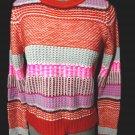 Nwt REWIND Nordic Sweater Top S Pink Turquoise Blue Orange Winter Ski Snow Bunny