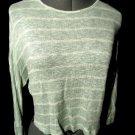 FANY D. Crochet Lace trim Sweater top juniors S Mint geen stripe Dolman crop LS